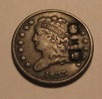 1833 CLASSIC HEAD HALF CENT PENNY   EXTRA FINE DETAIL / COUN