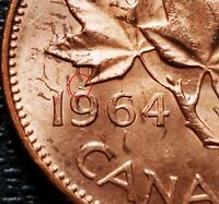 1964 DOT CANADA 1 CENT PENNY    DOT OVER 9 VARIETY    MS MIN