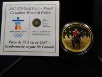 E2 CANADA 2007 GOLD $75 CANADIAN MOUNTIE ENAMELED PROOF W/ B