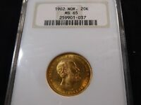 E83 NORWAY 1902 GOLD 20 KRONER NGC MS 65 OLD FATTY HOLDER