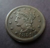 1851 BRAIDED HAIR COPPER LARGE CENT  AU