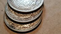 LOT OF 3 1947 CANADA SILVER HALF DOLLARS 50 CENTS STRAIGHT/C