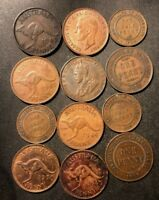 OLD AUSTRALIA COIN LOT   1915 1944   12 OLDER DATE COINS   B