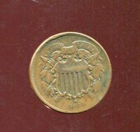 1864 COPPER TWO 2 CENT PIECE HIGHER GRADE