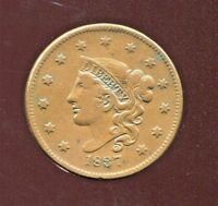 1837 MATRON HEAD COPPER LARGE CENT  VF