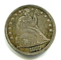 1869 LIBERTY SEATED SILVER DOLLAR $1 COUNTERSTAMP EXTRA FINE /AU PROBLEM FREE