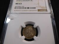 H17 CANADA 1918 5 CENTS NGC MS 63
