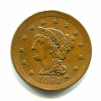 1852 BRAIDED HAIR COPPER LARGE CENT MINT ERROR BROADSTRUCK