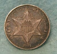 1861 CIVIL WAR ERA THREE CENT SILVER CHOICE XF   US COIN 3253