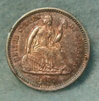 1862 SEATED LIBERTY SILVER HALF DIME NEAR UNC SUPER ALBUM TONING  US COIN  3263