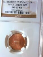1897 ETHIOPIA 1/32 BIRR   NGC MS65 RED   INCREDIBLE COIN   L