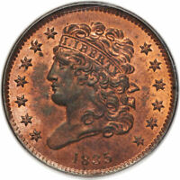1835 1/2C CLASSIC HEAD HALF CENT PCGS MINT STATE 65RB CAC APPROVED, ONLY 3 FINER OGH