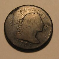 1795  S 74  FLOWING HAIR LARGE CENT PENNY   LETTERED   NICE
