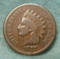 1877 INDIAN HEAD PENNY SOLID GOOD VG   US COIN