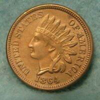 1864 CN CIVIL WAR ERA INDIAN HEAD PENNY AU   US COIN