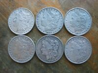 LOT OF 6 PRE 21 MORGAN DOLLARS MIXED DATES   NO 1921 COINS