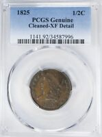 1825 CLASSIC HEAD COPPER HALF CENT PCGS EXTRA FINE  DETAIL LOW MINTAGE