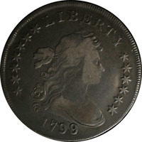 1799/98 DRAPED BUST DOLLAR F DETAIL 13-STAR REVERSE  GREAT SURFACES
