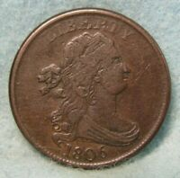 1806 DRAPED BUST HALF CENT VF    ROTATED REVERSE   US COIN