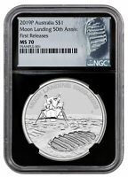 2019 P AUST APOLLO 11 MOON LANDING 1OZ SILVER $1 NGC MS70 FR BLACK CORE SKU57692