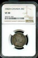 1902H CANADA 25C NGC VF 20 FINE 20 CANADIAN COIN FC626