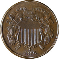 1866 TWO  2  CENT PIECE   GREAT COLOR  GREAT DEALS FROM THE EXECUTIVE COIN COMPA