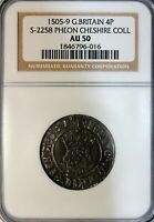 HENRY VII 1505 09 AD SILVER FOURPENCE GROAT PHEON PROFILE LONDON S 2258 NGC AU50
