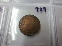 1809 U.S. HALF CENT LOW GRADE CLEANED 929