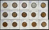 LOT OF 15X USA LINCOLN WHEAT SMALL CENT PENNIES - DATES: 1919 TO 1956