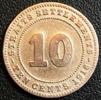 1918 STRAITS SETTLEMENTS 10 CENTS 40 SILVER COIN - FREE COMBINED SHIPPING