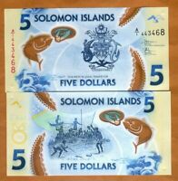 SOLOMON ISLANDS $5 ND  2019  P NEW A/1 PREFIX POLYMER UNC