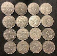 OLD CANADA COIN LOT   1923 1936   16 EXCELLENT NICKELS   LOT