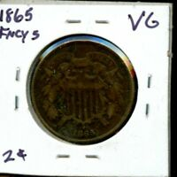 1865 UNITED STATES TWO CENT PIECE 2C COIN EG404