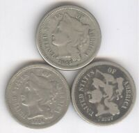 LOT OF 3  THREE CENT PIECES   1865 1866 & 1867    COPPER NIC