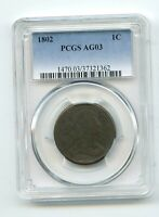 1802 DRAPED BUST LARGE CENT  AG 03  PCGS NICE ORIGINAL COIN