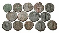 BYZANTINE. LOT OF 14 ALL FOLLIS. VARIETY OF TYPES AND EMPERO