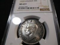 Y15 CANADA 1939 50 CENTS NGC MS 63