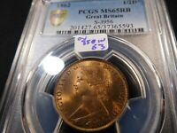 A100 GREAT BRITAIN 1861 PENNY S 3954 PCGS MS 64 BROWN CATALO