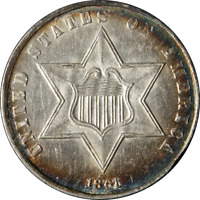 1861 THREE 3 CENT SILVER VAR. 3  UNC GREAT EYE APPEAL  LUSTER