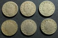 1890'S LIBERTY NICKELS 1890, 1891, 1892, 1893, 1895, 1897 - 6 COINS LOT 19