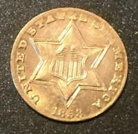 1858 P THREE 3 CENT SILVER -  TYPE COIN