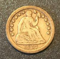1857-P SEATED HALF DIME -  TYPE COIN
