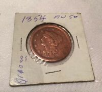 1854 BRAIDED HAIR LIBERTY HEAD LARGE ONE CENT COIN ESTATE COIN