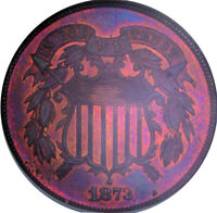 1873 2C PROOF OPEN 3 TWO CENT PIECE NGC PF64RB AWESOME COLOR TONING