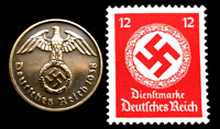 OLD WWII GERMAN WAR TWO RP COIN & ST 12 PF RED STAMP WORLD WAR 2 ARTIFACTS