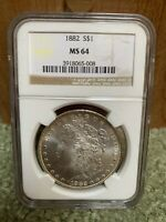 1882 P $1 SILVER MORGAN DOLLAR COIN NGC MINT STATE 64  COLOR PHILADELPHIA MINT STATE