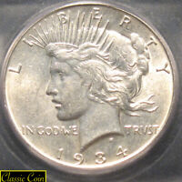 1934 SILVER PEACE DOLLAR $1 ICG MINT STATE 61 90 SILVER TOUGHER DATE