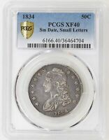 1834 SM DATE SM LETTERS PCGS EXTRA FINE 40 CAPPED BUST HALF DOLLAR  COLOR - I-19199