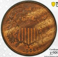 1864 2C LARGE MOTTO TWO CENT PIECE PCGS MINT STATE 64RB