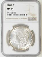 1880-P NGC MINT STATE 63 MORGAN SILVER DOLLAR LT EDGE TONE GREAT LUSTER - I-19172